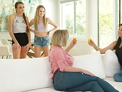 Cougars Dee William and India Summer fuck teen lesbians Scarlett Sage and Gia Derza