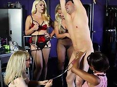 Busty cfnm femdom milf demand fourway with lucky ladies'