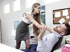 Nerdy anorexic secretary Kyaa Chimera is fucked hard by handsome co-worker