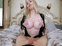 Erotic POV assembly room fun with a well-endowed cougar mom