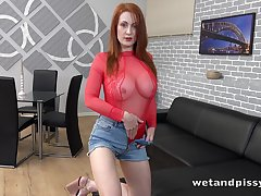 Redhead named Isabella Lui just feels awesome masturbating herself