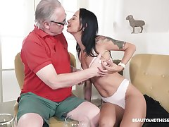 Fetching brunette with atrophied forms, naughty patriarch porn primarily cam