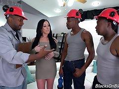 Bitch gets blacked alongside merciless scenes of gangbang sex
