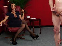 Cute chick Zara Gold enjoys watching a dude jerking off. HD