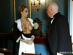 Blonde maid strips for the master of the dwelling and gets laid with him