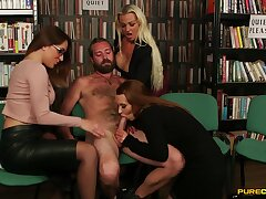 Three horny babes team up to suck a locate of one lucky dude